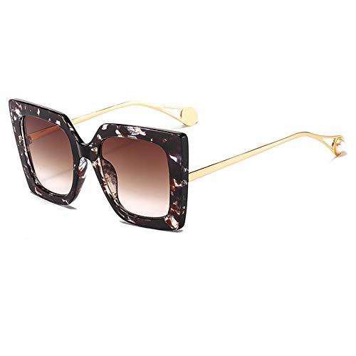 ZYJ Nuevas Gafas de Sol de Perlas cuadradas Elegantes para Mujer Gafas de Sol graduadas de Gran tamaño de Moda Caliente Gafas de Sol para Mujeres Protección UV Gafas de Sol para Mujer,Floral Tea