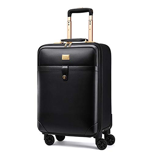 Mdsfe New retro 16/18/20/22/24 inch men business genuine leather hand luggage on wheels cabin travel trolley bags vs trolley suitcase - black, 22'