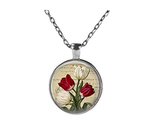 Rot und Weiß Tulip Halskette SPRING FLOWERS Blumenmuster Art Anhänger in Bronze oder Silber mit Link Kette enthalten