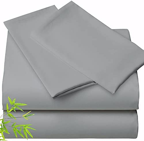 100% Bamboo Sheets Queen Size – 4pc Queen Bamboo Sheets, Cooling Bed Sheets, Soft Sheets Queen Sheet Set