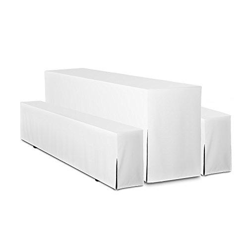 TexDeko Biertischhussen für Bierzeltgarnitur Hussen 5tlg. Set mit POLSTERUNG - Basic LANG (50cm, Weiß)
