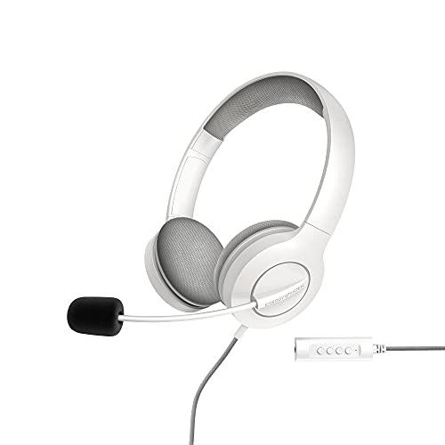 Energy Sistem Headset Office 3 (Auriculares con conexión USB y 3,5 mm, Control de Volumen y función Mute, micrófono retráctil)- Blanco