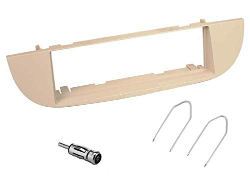 sound-way Kit Montage Autoradio, Cadre Façade 1 DIN, Adaptateur Antenne, Clés de Démontage, Compatible avec Fiat 500 Cinquecento