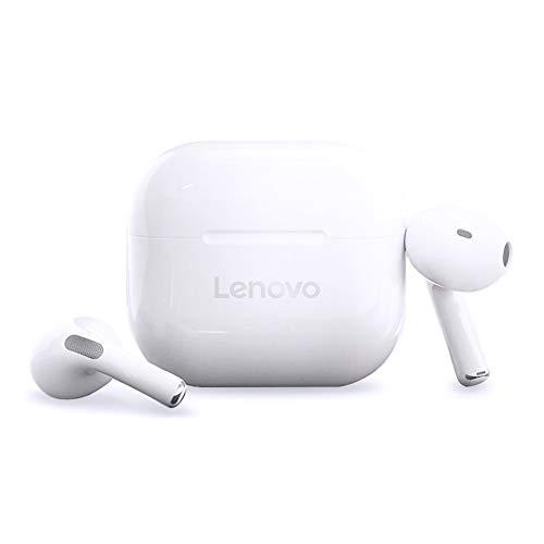 LEN0V0 LivePods LP40 écouteurs Bluetooth 5.0 Contrôle Tactile, Suppression du Bruit, Semi-Intra-Auriculaires étanches avec Interface MIC de Type C, Compatible avec iOS Android, Blanc