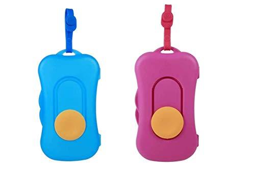 YUIP 2 piezas caja de pañuelos húmedos, caja de pañuelos húmedos portátil, caja de tela conveniente para viajes, caja de pañuelos húmedos portátil específica para viajes (azul y rojo rosa)