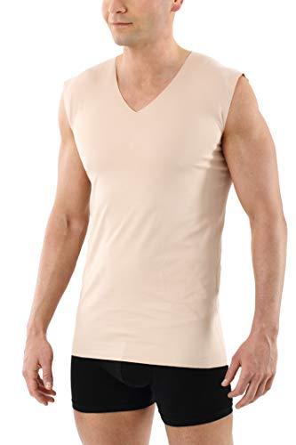ALBERT KREUZ Camiseta Interior Invisible sin Mangas en Tejido algodón Elastico Clean Cut sin Costuras con Cuello en V Color Piel 06/L