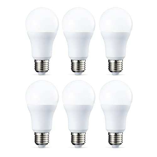 Amazon Basics Lampadina LED E27, 10W (equivalenti a 75W), Luce Bianca Fredda - Pacco da 6