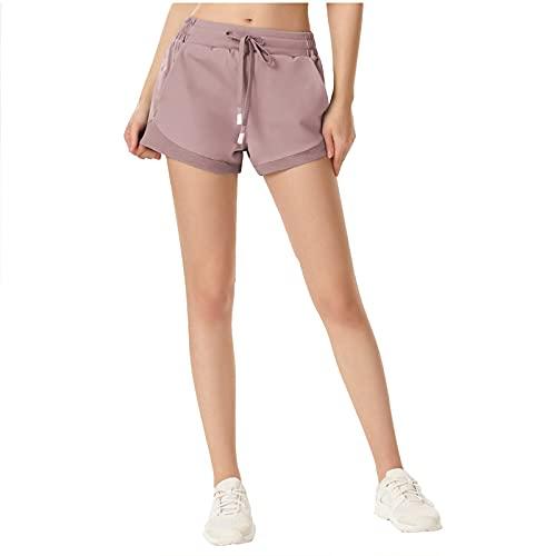 Pantalones Cortes Unisex Adulto Pantalones Cortos Deportivos Mujer Elástico de Alta Cintura Transpirable Yoga Shorts Chandal Deporte Algodón Playa Entrenamiento Trotar Pijama Verano