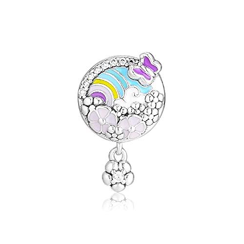 LIIHVYI Pandora Charms para Mujeres Cuentas Plata De Ley 925 Joyería De La Historia del Color De La Flor Compatible con Pulseras Europeos Collars