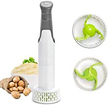 JIEQIJIAJU Electric Potato Masher, Hand Blender Vegetable Chopper 3-in-1 Set Multi Purees and Whisks Immersion Mixer Tool Perfectly Blends & Purees Baby Food Vegetables & Potatoes Soup Makers (Grey)