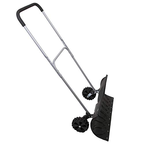 """Heavy Duty Adjustable Rolling Snow Pusher With 6"""" Rubber Wheels"""