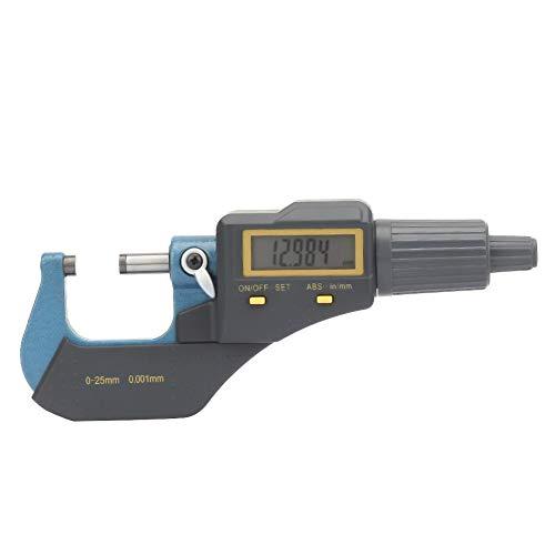Micrómetro digital, herramienta de medición 0-25 mm Micrómetro exterior digital electrónico Calibrador de espesor y llave de 0.001 mm Compatible con conversión de datos en unidades Mm/in