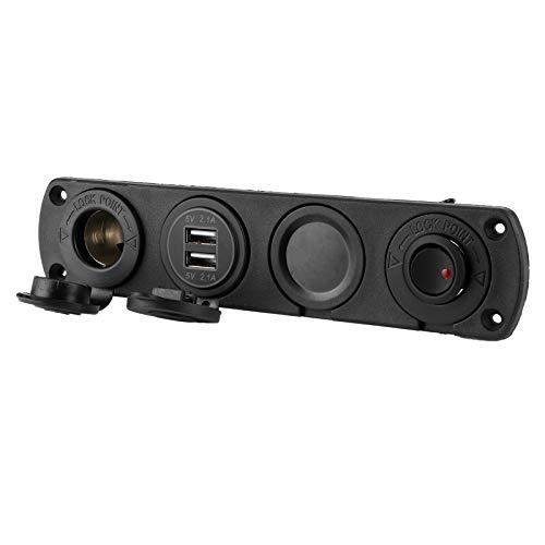 Salida de adaptador de corriente para cargador, pantalla de voltímetro, panel de toma de cargador de coche, 4 orificios, USB de 4,2 A con indicador LED para barco/coche/RV/camión
