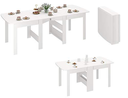 Rodnik Klapptisch - Klappbarer Tisch - Esstisch ausklappbar bis 240 cm - Weiß - Holzstruktur-Küchentisch - Doppelklappentisch CK-2