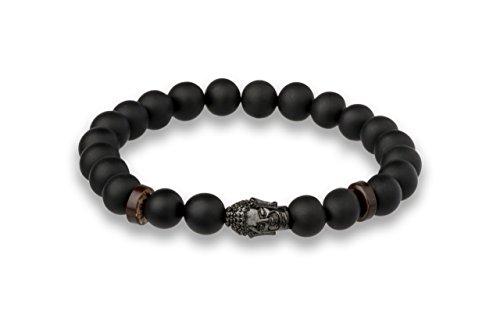 Luna Jule Buddha-Perlen-Armband - matt schwarzen Onyx Perlen 8 mm Ø Perlen, 19 cm mit Buddha Kopf Anhänger in verschiedenen Längen und Ausführungen für Damen und Herren