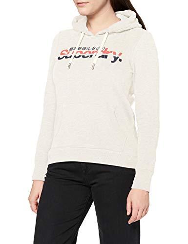 Superdry Womens CL Vintage Stripe Hood Hooded Sweatshirt, Queen Marl, 12