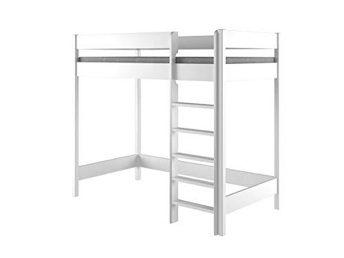 Hubi Loft Bunk Bed Cama alta, madera, Blanco, 180x80x160