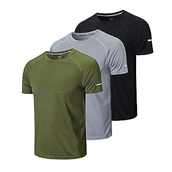 frueo Men s 3 Pack Running Shirts Dry Fit Moisture Wicking Short Sleeve Mesh Workout Training T-Shirts,Black Gray Green,XL