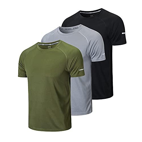 ZENGVEE 3er Pack Sportshirt Herren Kurzarm Laufshirt Kurzarm Schnelltrocknend Atmungsaktiv T-Shirt Herren Sportshirt Trainingsshirt fürMänner(520-Black Gray Green-XL)