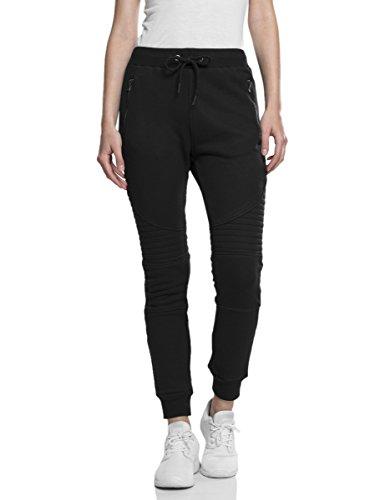 Urban Classics Damen Slim Hose Ladies Melange Biker Sweatpants W34 (Herstellergröße: XS) Schwarz (blk/blk 17)