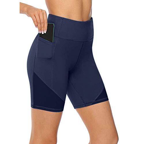 Shinehua Korte sportbroek voor dames, leggings voor dames, ondoorzichtig, met zakken en hoge tassen, voor zomer, sport, training, gym, yoga, fitness, yoga, workout