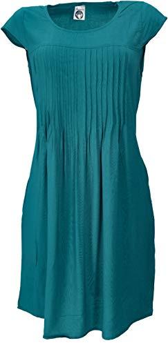 GURU SHOP Minikleid Style, Schlichtes Sommerkleid, Damen, Petrol, Synthetisch, Size:XL (42), Kurze Kleider Alternative Bekleidung