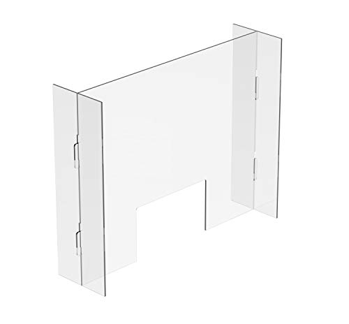 Sneeze & Cough Office Shield Barrier   Ultra Clear Acrylic   30' x 24'x 6'   Easy Setup   for Cashiers, Banks, Gas Stations, Clerks, Receptionists   Portable & Light Weight  