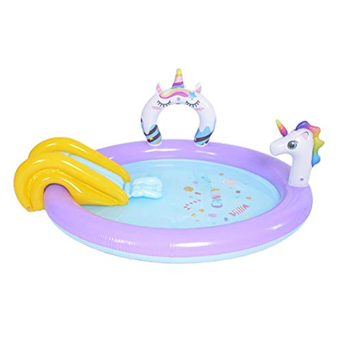 xiaowang Children Swimming Pool, Inflatable Slide Fountain, Unicorn Slide Paddling Pool, Sprinkler Game Pool Outdoor Toys for Kids Water Play, 76.8x59.8x29.9inch