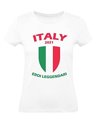 Camiseta para Mujer - Italia Héroe Legendario del Campeonato de Europa de fútbol 2021 para Mujer Medium Blanco