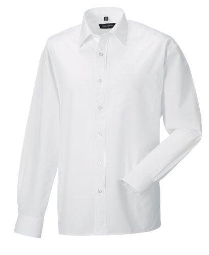 Z934 Langarm Popeline-Hemd Oberhemd Herren Hemd Russell XL / 43/44,White