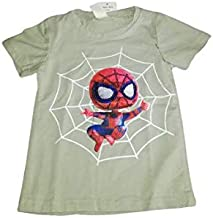 Mumkido Spiderman Boys T-Shirt Embose Print Technique On Spiderman Half Sleeve Light Green Color (9-12 Months)