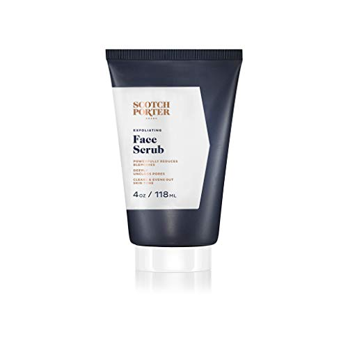 Scotch Porter Exfoliating Face Scrub for Men   Facial Cleanser Unclogs Pores & Evens Out Skin Tone   Formulated with Non-Toxic Ingredients, Free of Parabens, Sulfates & Silicones   Vegan   4oz Bottle