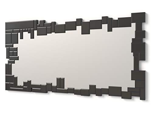 DekoArte E025 - Espejos Decorativos Modernos De Pared | Espejos Decoración para Tu Salón Dormitorio, Entrada, Recibidor | Espejos Sofisticados Grandes Rectangular Color Negro | 1 Pieza 140 x 70 cm