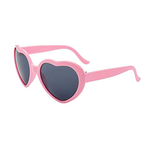 Julhold Gafas de sol ligeras, protección ultraligeras, marco de amor, gafas con forma de corazón, luces con efecto de amor, gafas con efecto espejo, gafas de bloqueo.