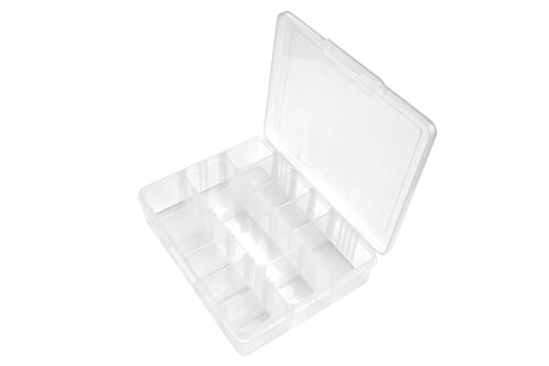 SE 14 Compartment Translucent Plastic Storage Container with Adjustable Sections - 87065DB