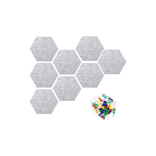 Actume Gray Felt Hexagon Bulletin Board, Notice Board with 35 Push Pins, Self Adhesive Notice Boards for Home Office Kitchen Classroom Wall, 8 Pcs/Set