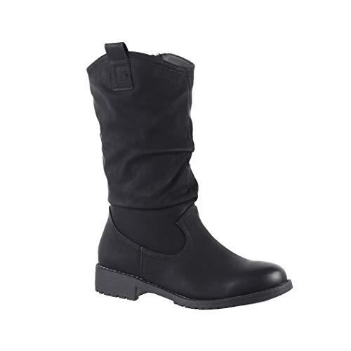 Elara Damen Cowboy Stiefel Biker Boots Chunkyrayan Ls-61 Black-38