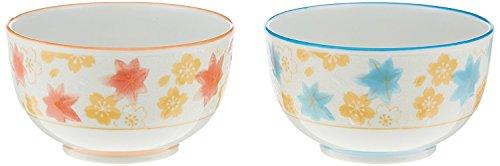 [Lot de 2] Ichida de Hiromi Porcelaine soupe ou Bol à riz/japonais Nishiki Cloud Pattern Bleu et Rouge Hr-707