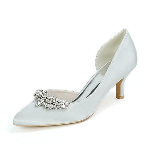 Moda Zapatos de Novia, Sexy Pedrería Zapatos de Tacón Tacón Medio Satín...