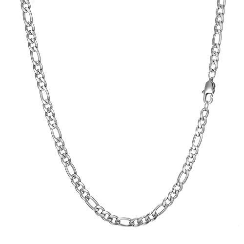 AFSTALR Chaine Homme Femme Acier Inoxydable Argent Collier Chaîne Figaro 1+3 Bijoux Anniversaire Cadeau 5mm-61cm