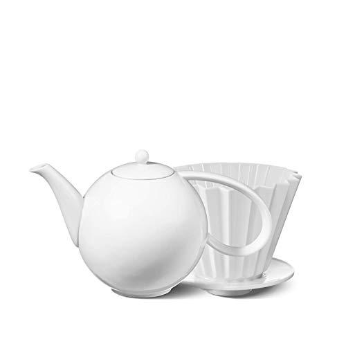 KPM Berlin Filter Set, Kaffeekanne, Teekanne, Kaffeefilter, Porzellan, Weiß, 2-teilig in Geschenkverpackung