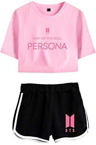 OLIPHEE Chándales de Verano con Impresa de Persona de BTS Camiseta y Pantalones Cortos para Mujer 97Jfehe-S-2