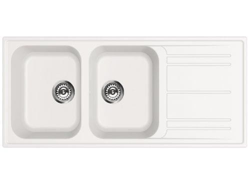 SMEG Lavello LZ116B 2 Vasche con Gocciolatoio Dimensioni 116 x 50 cm Colore Bianco Serie Rigae