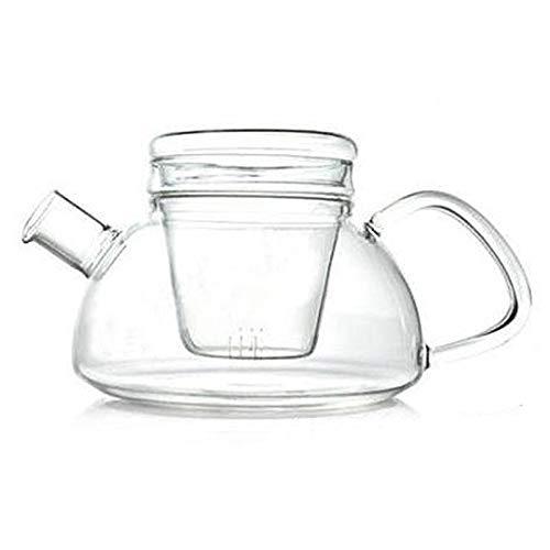 Tetera de cristal con infusor, 1000 ml, con colador para té suelto, seguro en estufas, tetera con infusor de vidrio y tapa de cristal