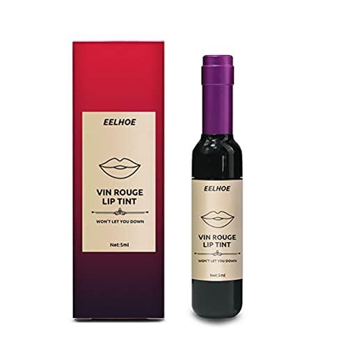 Lápiz Labial líquido Mate con diseño de Botella de Vino Creativa, Barra de Labios hidratante y Antiadherente Impermeable de Larga duración para Mujeres, niñas