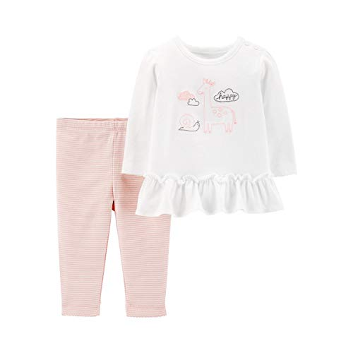 4 peças Carter's para bebês meninas. Conjunto de enxoval Girafa Take Me Home 12 meses rosa/branco