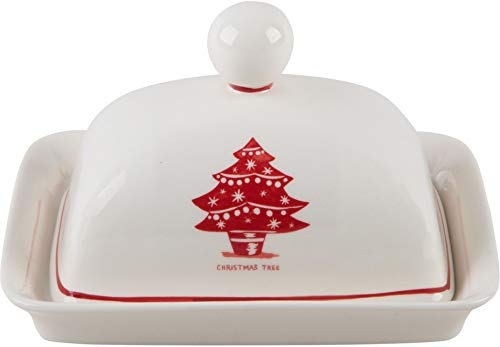 Home Essentials Molly Hatch Christmas Tree Design Covered Butter Dish, 7-Inch Length