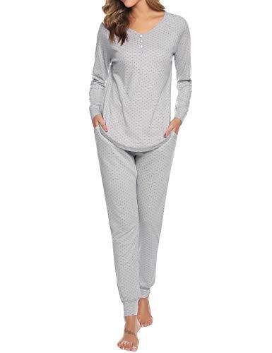 Hawiton Pijamas Mujer Invierno Manga Larga Conjunto de Pijama para Mujer Algodón Pantalones Largo Ropa de Casa Dos Piezas