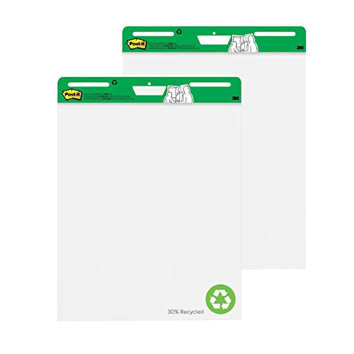 Post-it 559RP - Pack de 30 hojas de bloc de reuniones de caballete, papel blanco reciclado, juego de 2 unidades