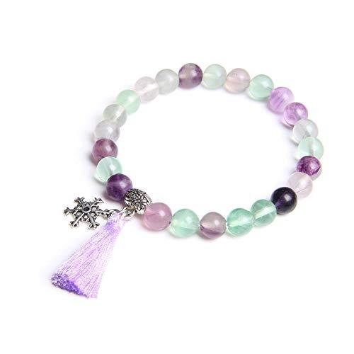 Mens Bead Bracelets Charm Bracelets Women Lucky Jewelry Natural Fluorite Beads Bracelets Femme Tassel Pendant Friendship Pulsera Gift A 19Cm